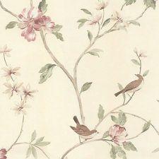 """12""""/31cm Wallpaper SAMPLE Charming Birds, Branch & Blossom"""