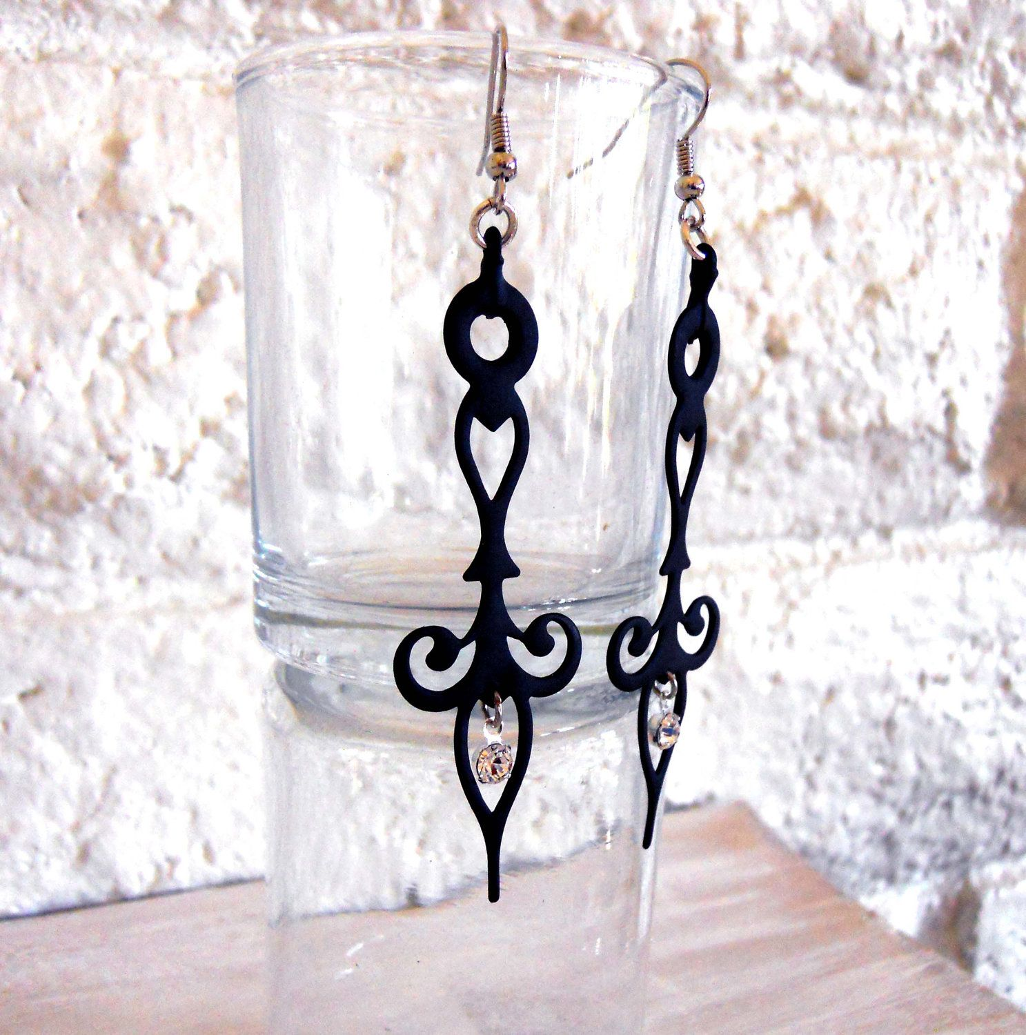 Gothic Steampunk Earrings Clock Hands Black with Crystals- Noir Neo Victorian Styled. $26.00, via Etsy.