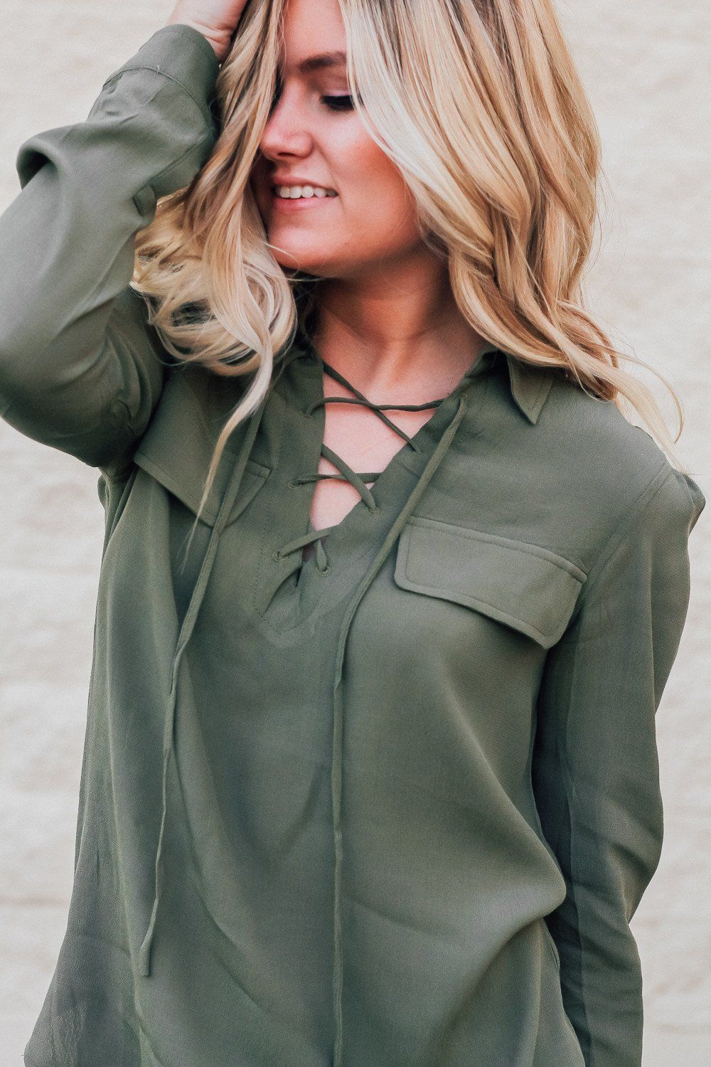 OLIVE LACE UP TOP || WWW.BHNCLOTHING.COM || @BEHERENOWCLOTHING || Lace up top, tie up top, green, fall outfit, fall style, fall clothing, fall top, utah, modest, lace up shirt.
