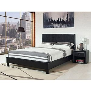 Best Stratus Full Upholstered Bed Black Faux Leather 180 400 x 300