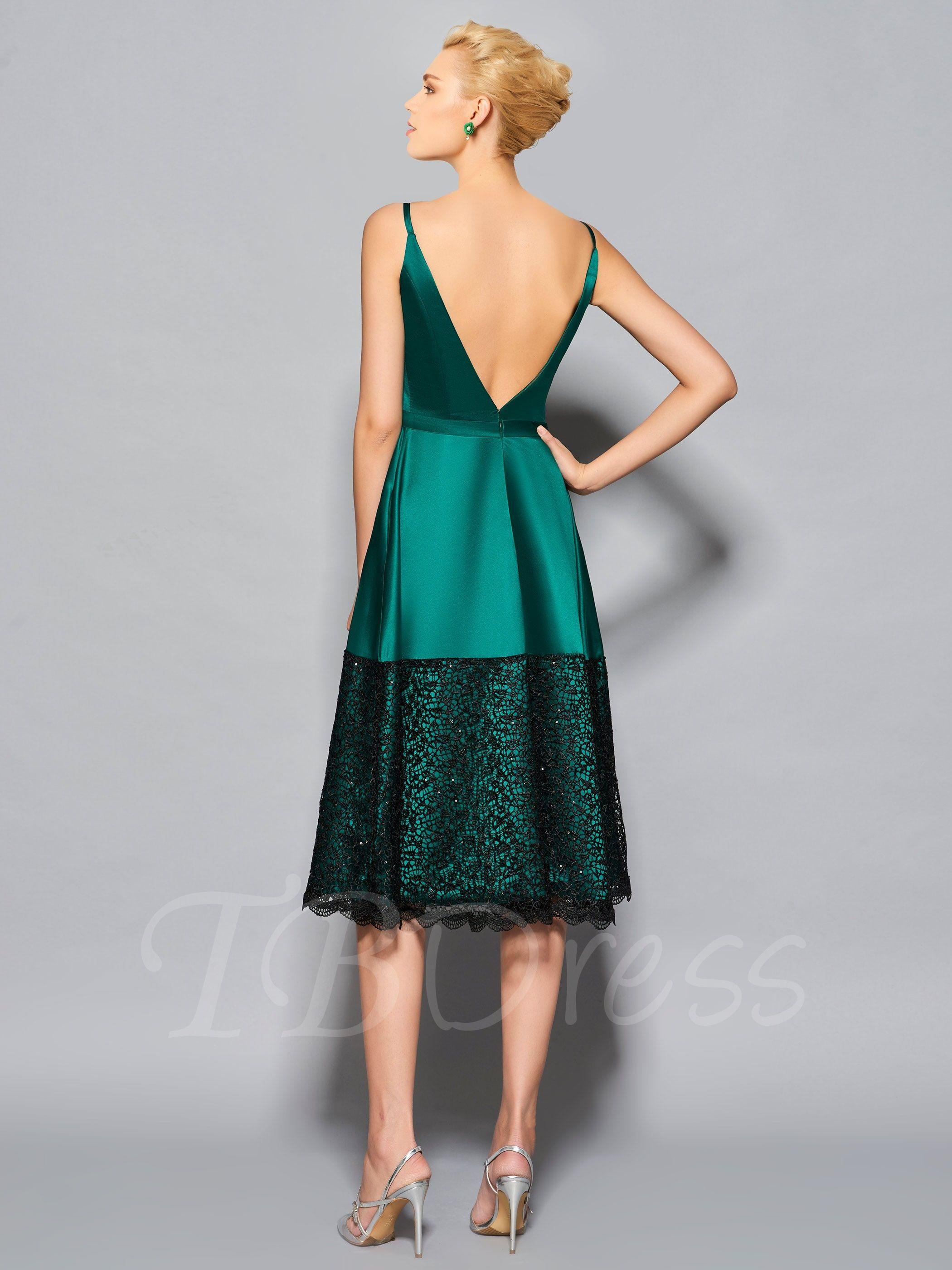 Spaghetti straps lace sashes tealength cocktail dress closet