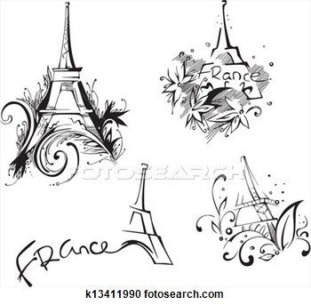 Sketches With Eiffel Tower View Large Illustration Paris
