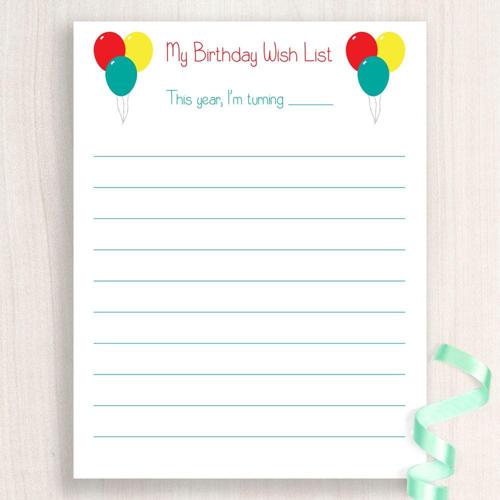 Free Printable Free Printable Birthday Wish List At