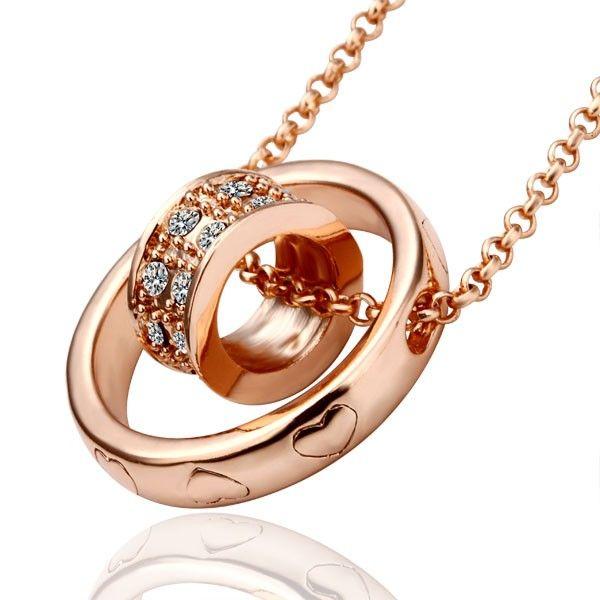 Swarovski Crystal Goldtone Double Ring Pendant Necklace SWNL029  10 ... 6ce4250d16