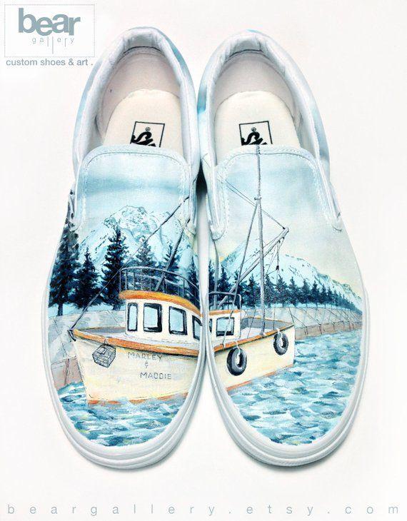 1f50053fb4ec Custom Vans Fishing Shoes - Hand Painted Alaskan Fishing Boat and Mountains