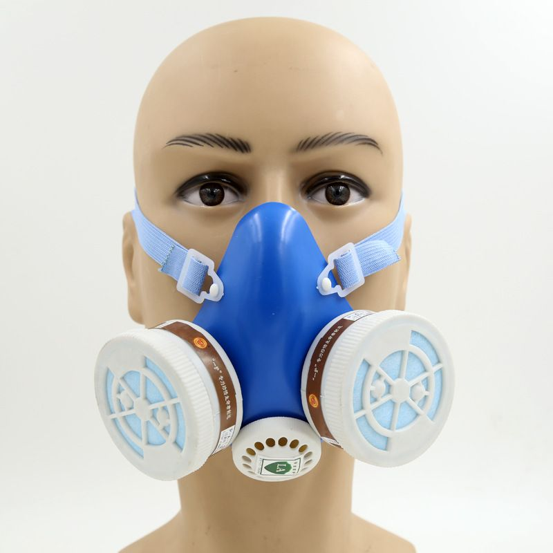 $1.89 (Buy here: http://appdeal.ru/70hj ) YIHU gas mask blue Two-pot efficient respirator gas mask paint spray pesticides industrial safety protective mask for just $1.89
