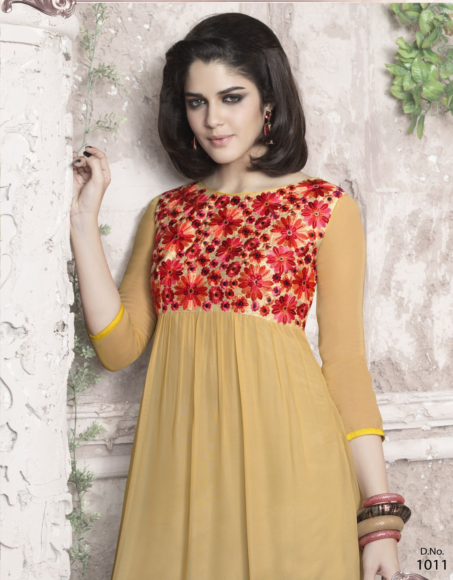 Red Flower designs designer kurti Ladies
