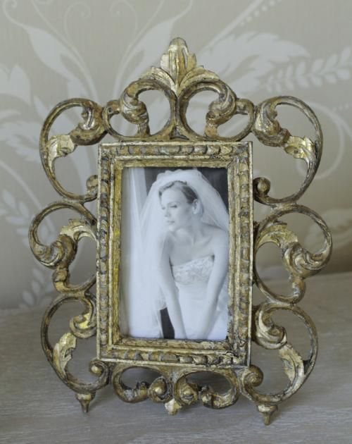 Gold swirl small ornate photo frame shabby vintage chic mantle free ...