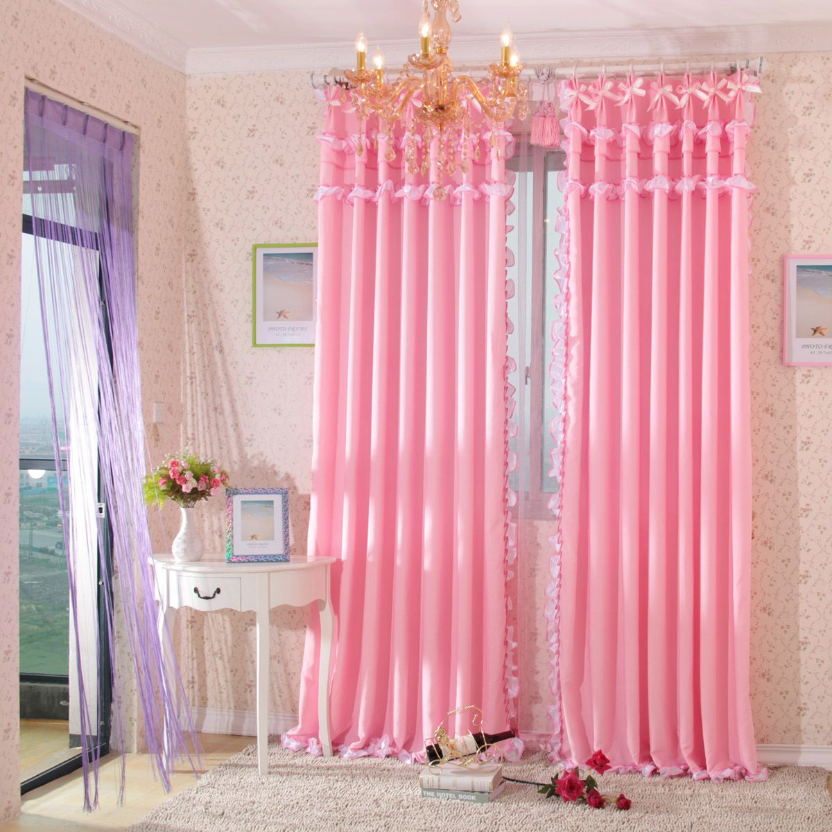 Remarkable Pink Bedroom Curtain In Impressive Fl Wall Design With White Vase Table And Wonderful Gold Chandelier Also Grey Rug Gorgeous