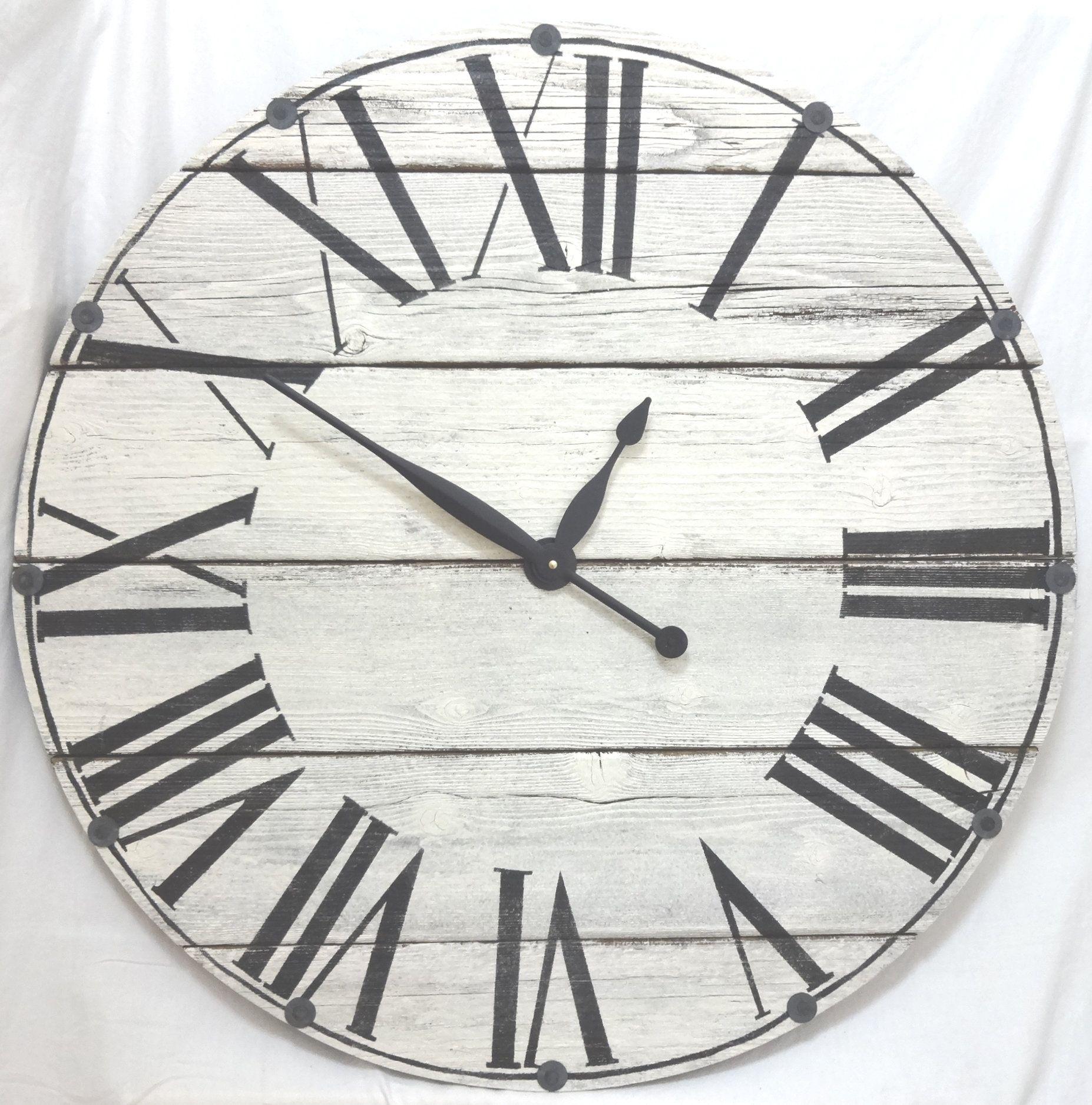 30 inch rustic reclaimed wood wall clock farmhouse clock