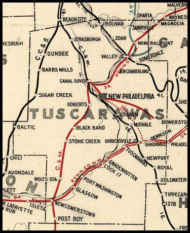 Zoar Ohio Map Tuscarawas County Ohio Railroad Stations