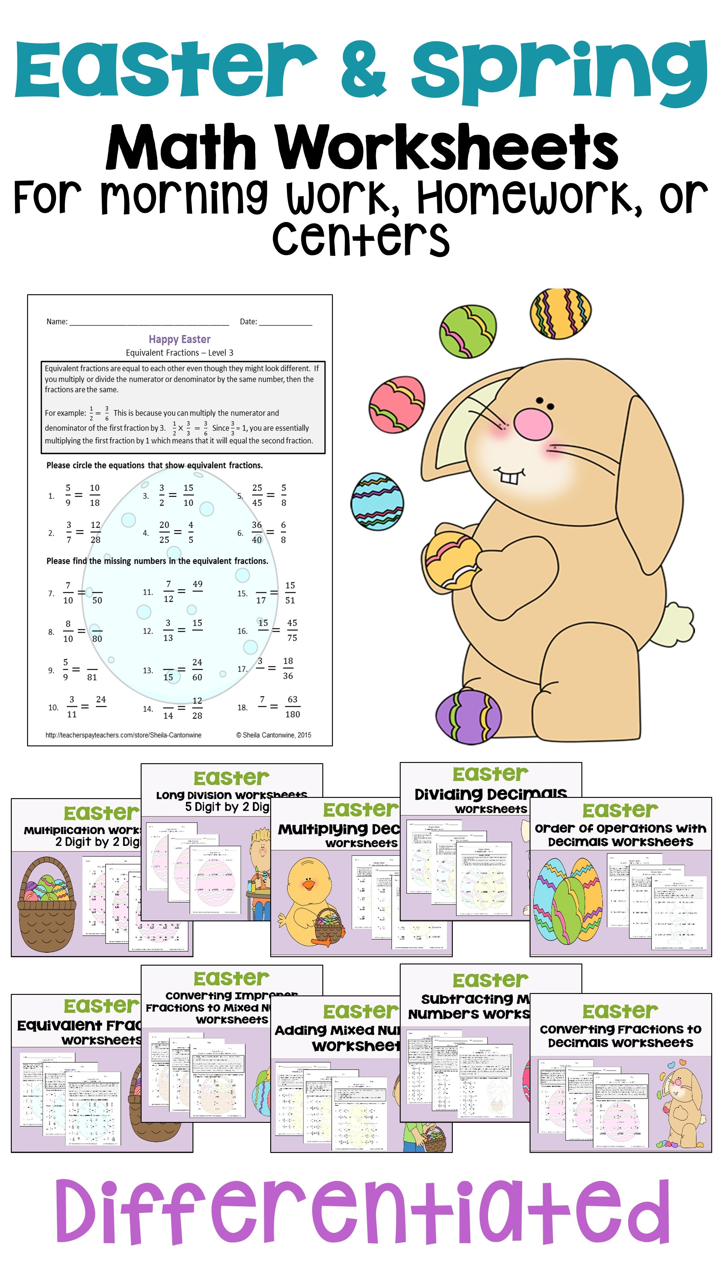 Easter Math Worksheet Bundle Differentiated With 3 Levels