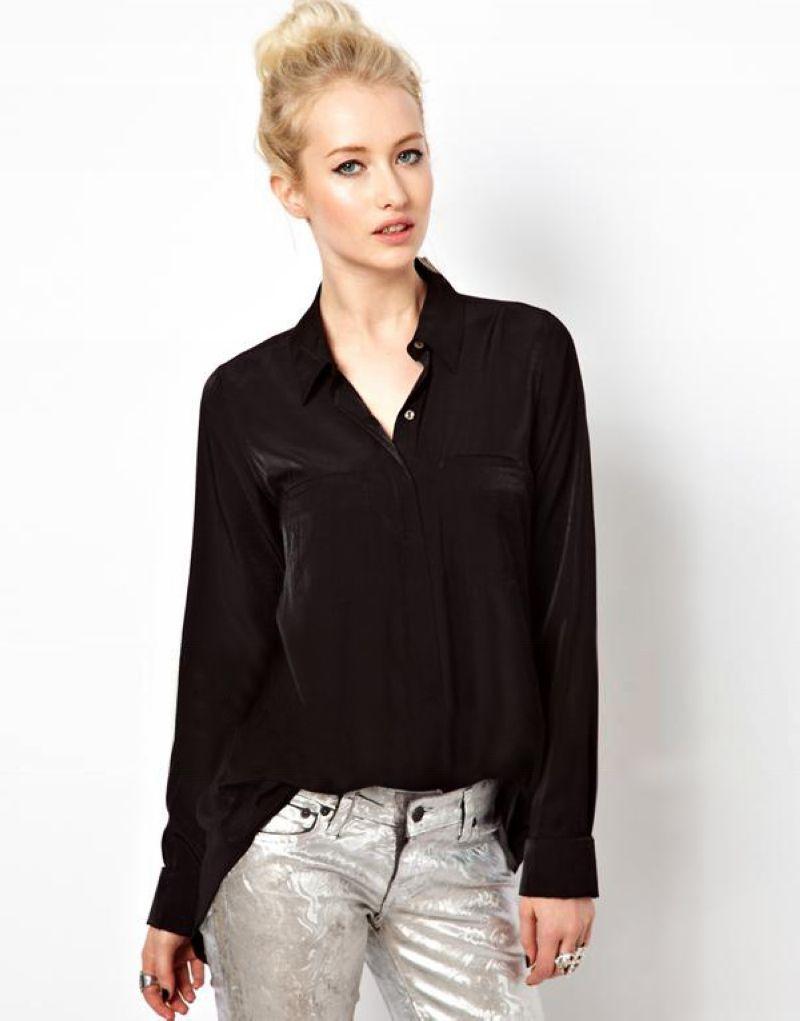 Loose Slit Back Sheer Chiffon Blouse Button-Up Shirt Black ...