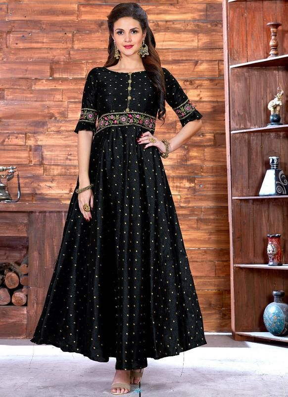 Attractive Black Silk Printed Designer Party Wear Gown | Party Wear ...
