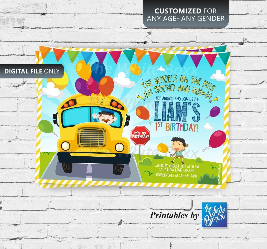 The Wheels on the Bus Birthday Invite / Yellow School Bus | Etsy | Wheels  on the bus, Car themed parties, Birthday invitations