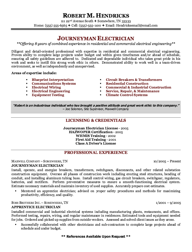 Resume For Maintenance Example Of Journeyman Electrician Resume  Httpexampleresumecv