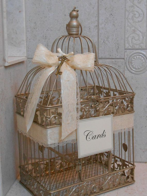 Large Champagne Gold Wedding Birdcage Card Box / by ThoseDays ...