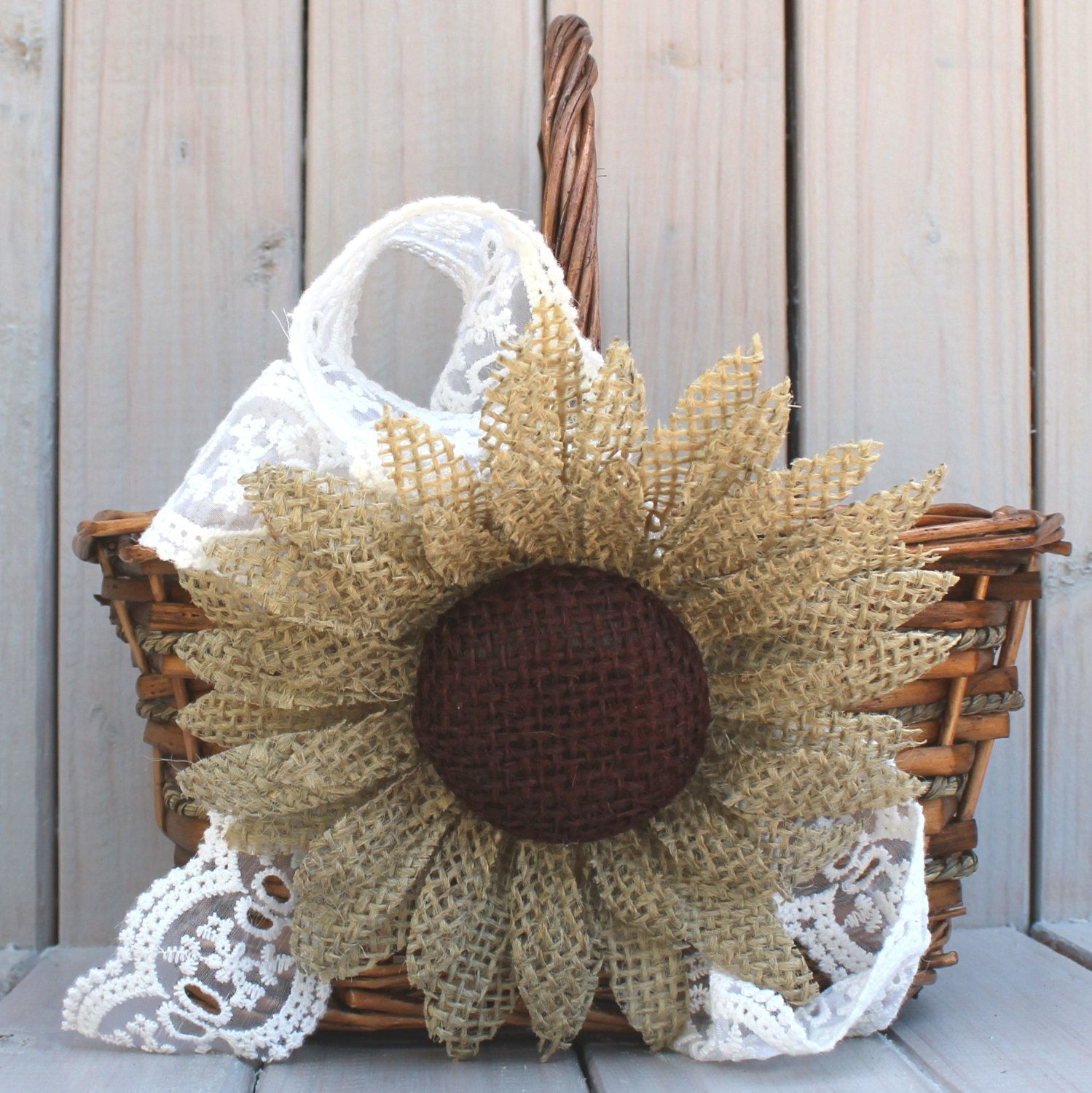 Flower Girl Basket With Burlap Sunflower And Lace Fleurs