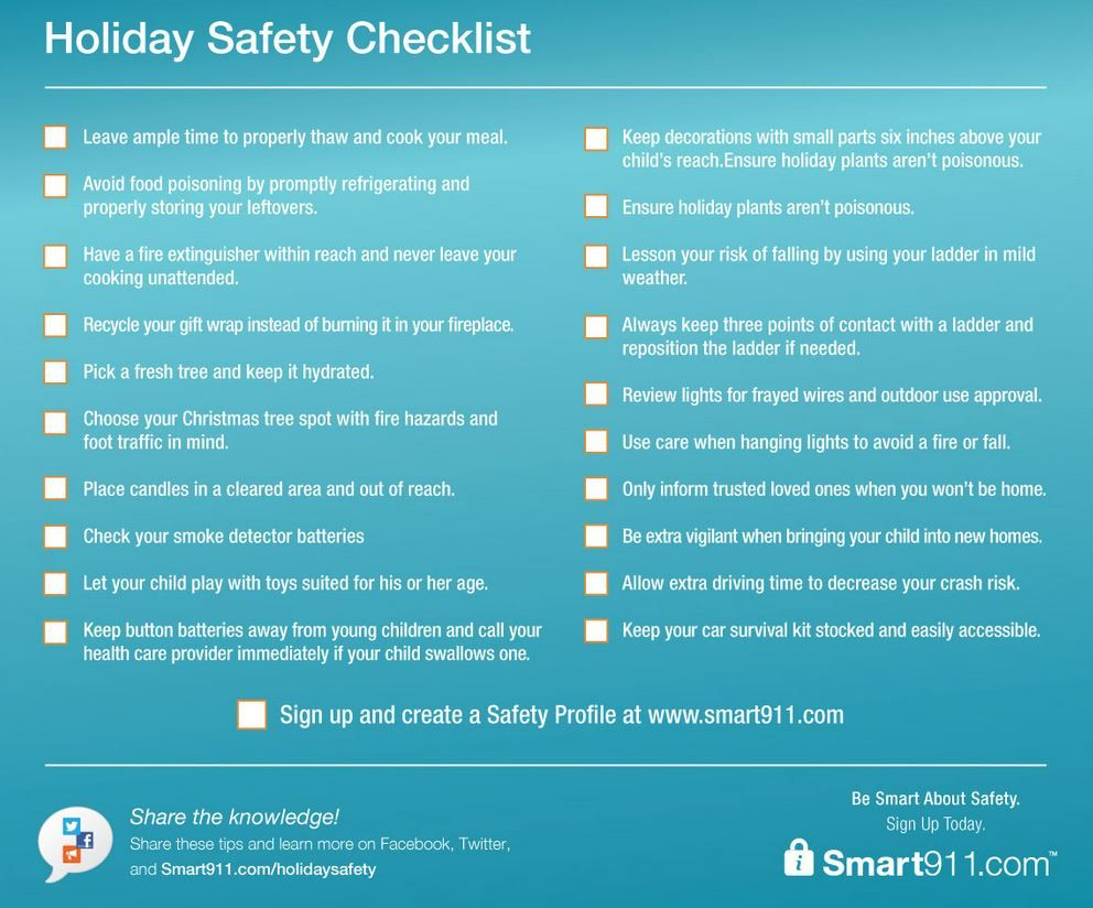 Download the holiday safety checklist for helpful tips