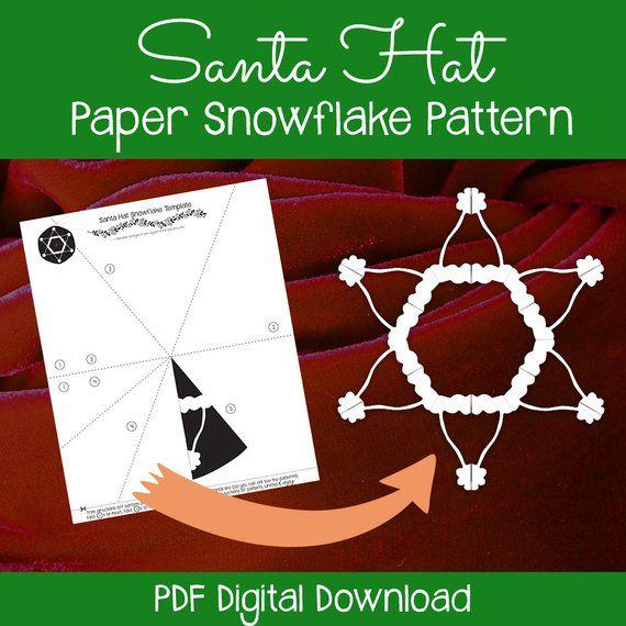 Santa Hat Paper Snowflake Pattern Pdf Digital Download Paper