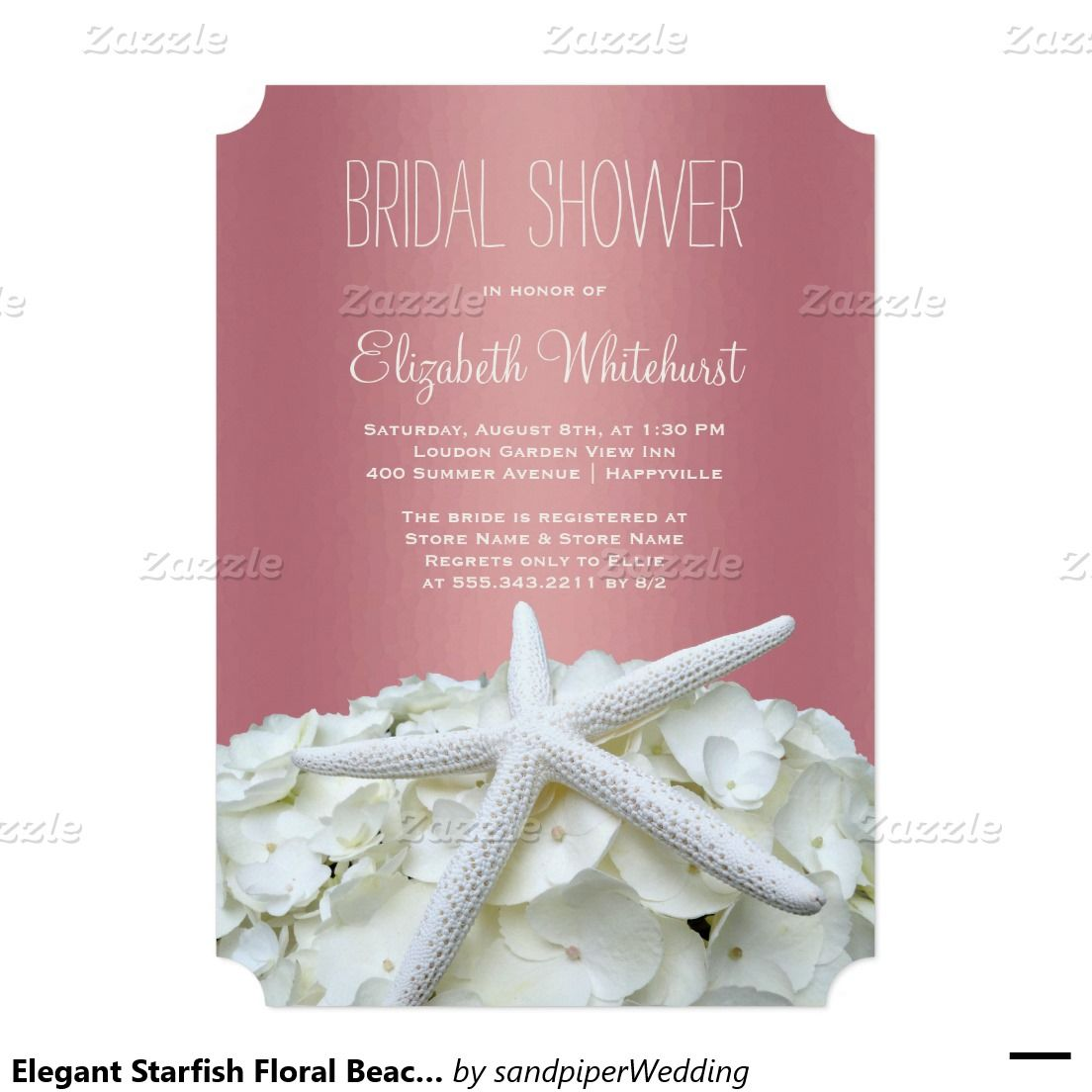 Rose gold, starfish floral bridal shower invitation. Dark pink and ...