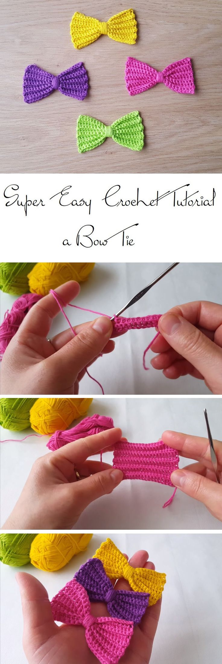 How to Crochet a Simple Bow Tie | Crochet, Bow tie tutorial and ...