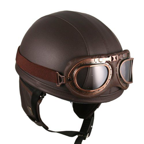 Brown with Drop Down Sun Lens Woljay Leather Motorcycle Goggles Vintage Half Helmets Motorcycle Biker Cruiser Scooter Touring Helmet