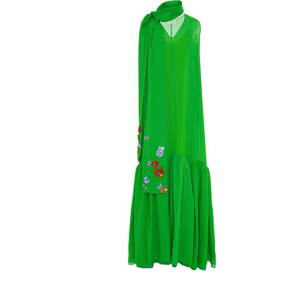 DELPOZO Sleeveless V-Neck Cotton Long Dress (87 150 UAH) ❤ liked on Polyvore featuring dresses, a line dress, long cotton dress, green dress, sleeveless v neck dress and green sleeveless dress