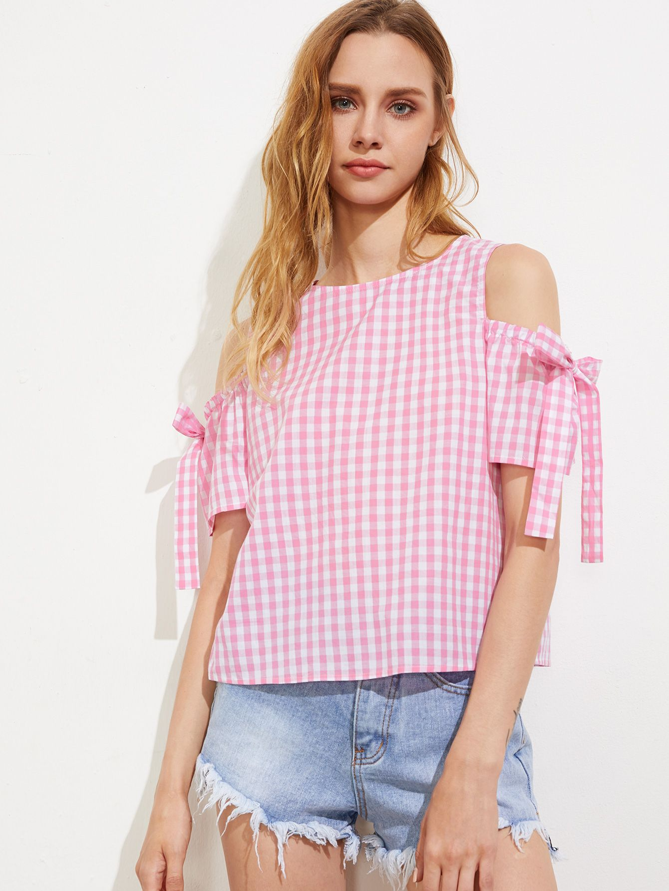 22e276c8b9 Shop Bow Tie Open Shoulder Button Back Checkered Top online. SheIn offers  Bow Tie Open Shoulder Button Back Checkered Top & more to fit your  fashionable ...