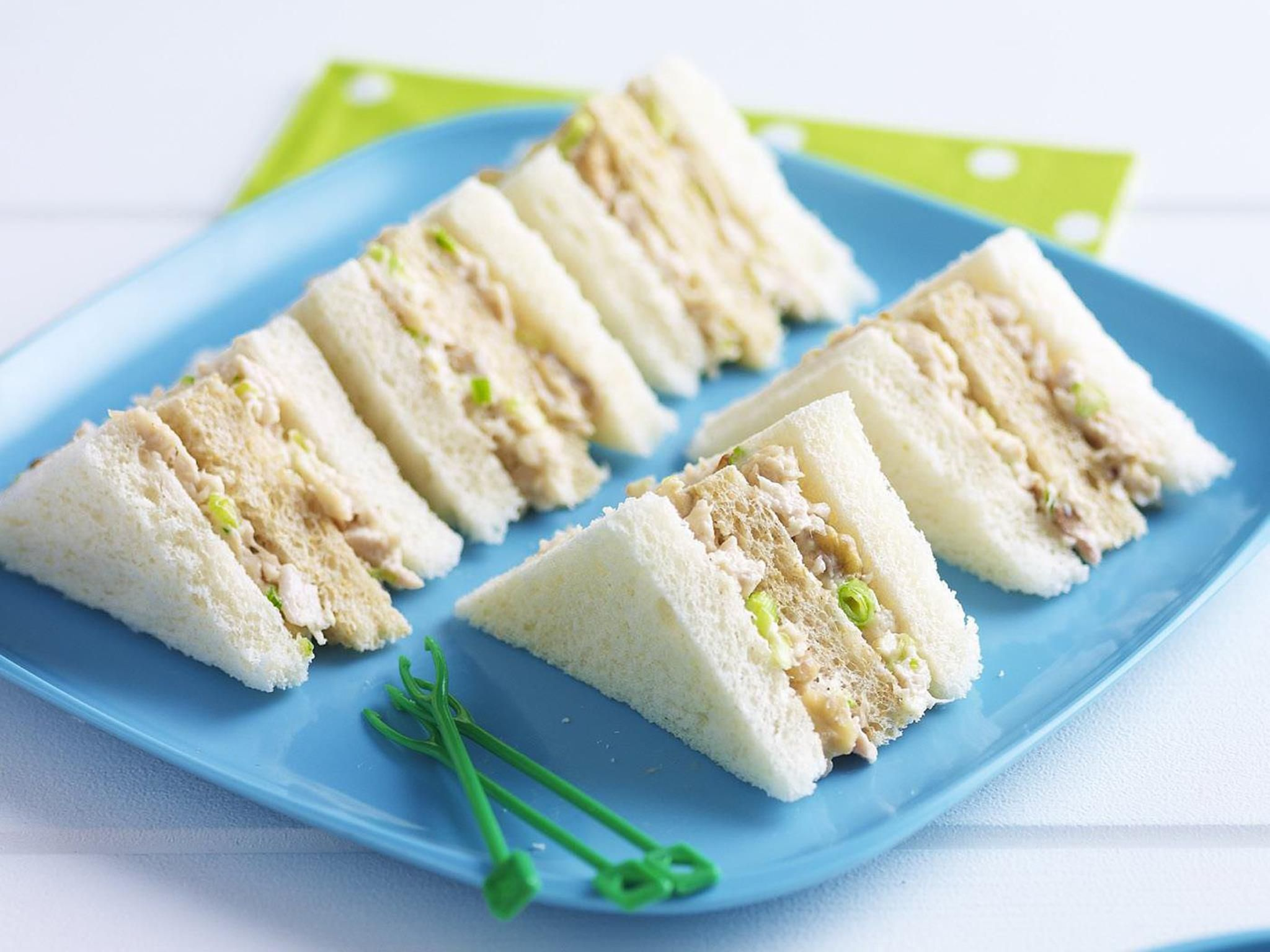 Chicken Mayo Celery And Walnut Sandwiches Recipe Tea Party Sandwiches Food Delicious Sandwiches