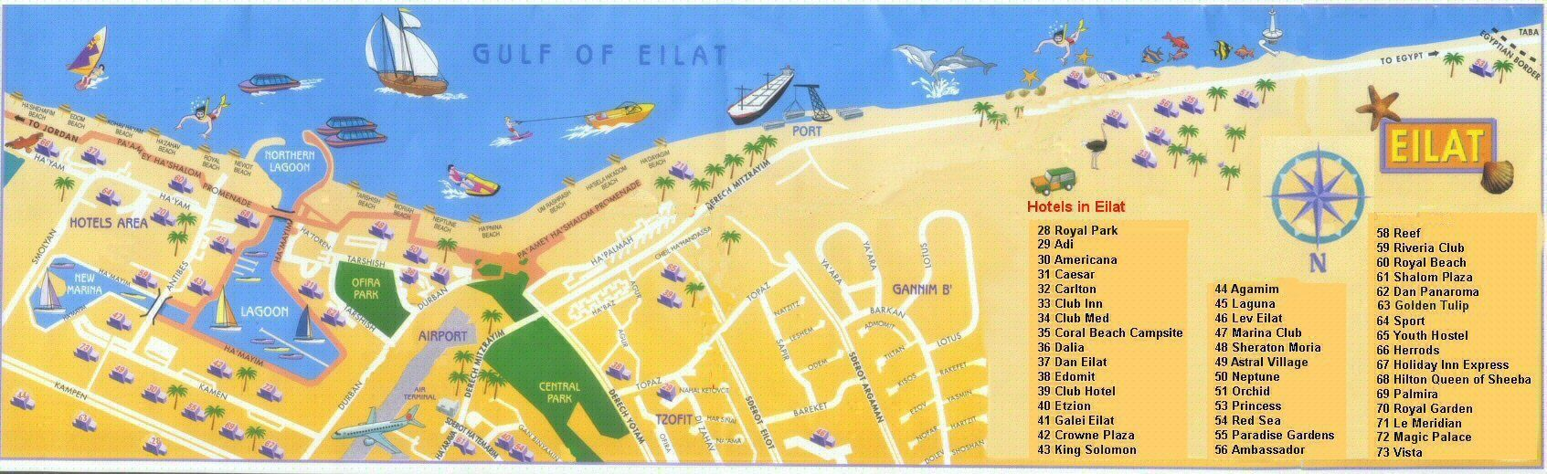 Map of main Eilat Hotel area TripMiddleEast Pinterest Eilat