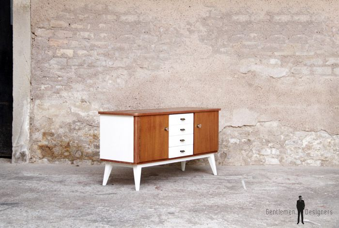 gentlemen designers mobilier vintage made in france petit meuble tv vintage scandinave en teck. Black Bedroom Furniture Sets. Home Design Ideas