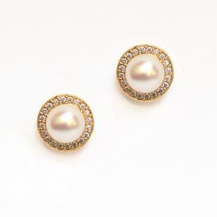 18ct yellow gold, Diamond and pearl stud earrings