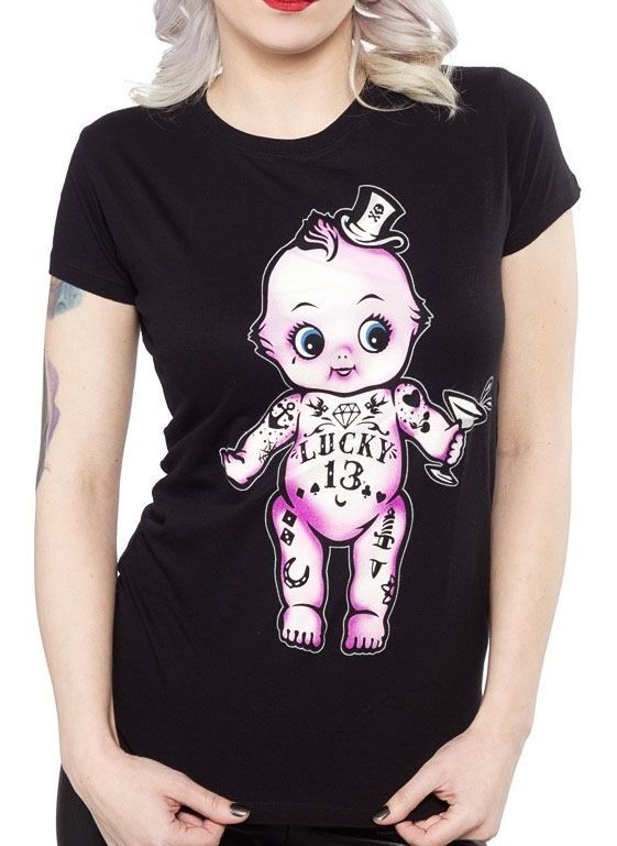 Lucky 13 shirt kewpie doll tattoo baby pin up girl model rockabilly retro  mommy  Lucky13  GraphicTee 6e9d47b3fe