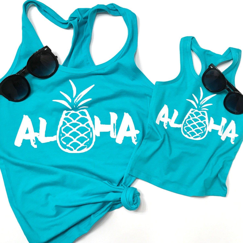 Aloha shirt matching mommy & me SET  vacation shirt mom shirt | Etsy