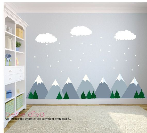 mountain wall decals wall decals nursery nursery wall on wall stickers for kids id=58606
