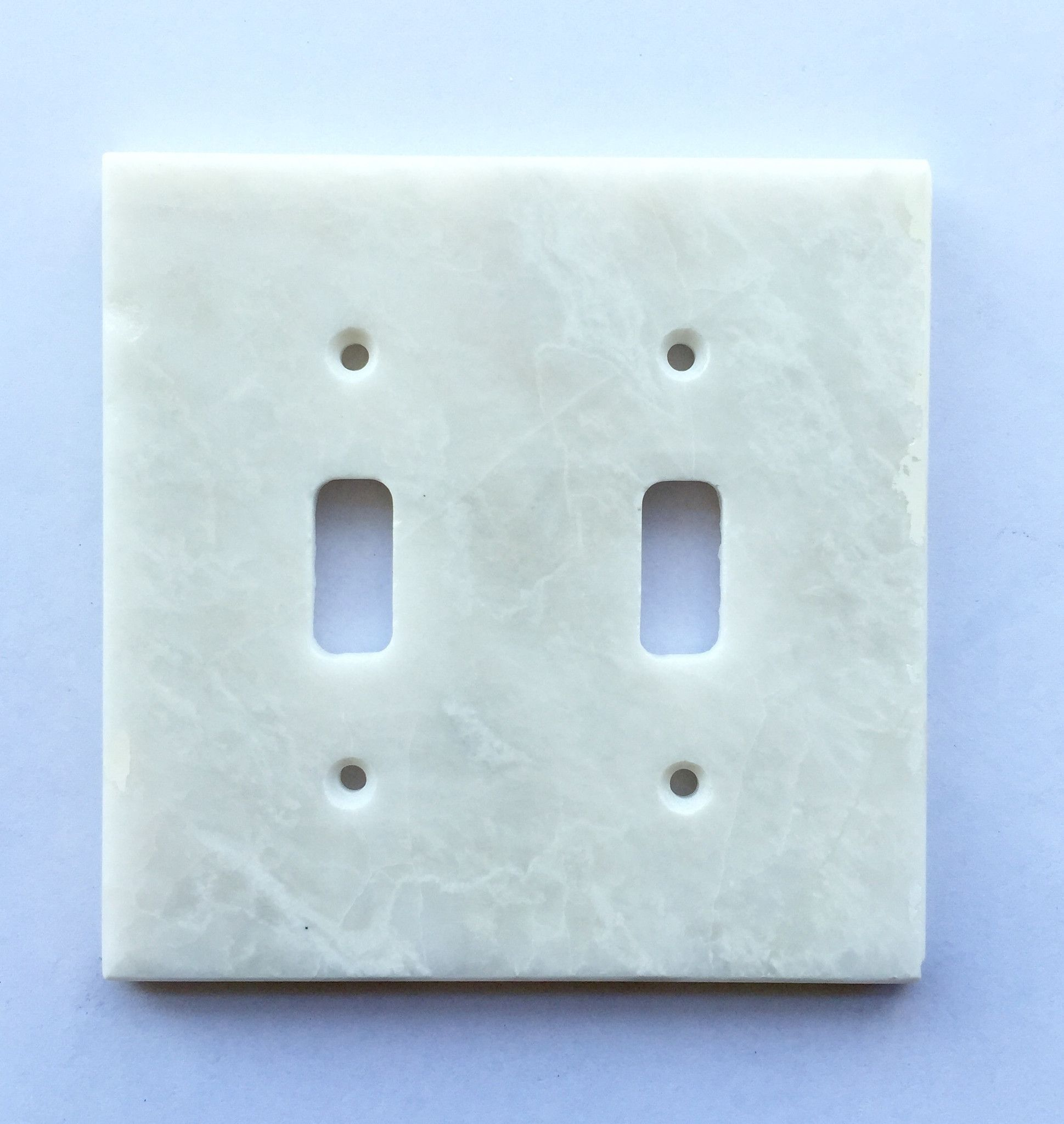 White Marble Meram Blanc Double Toggle Switch Wall Plate Cover