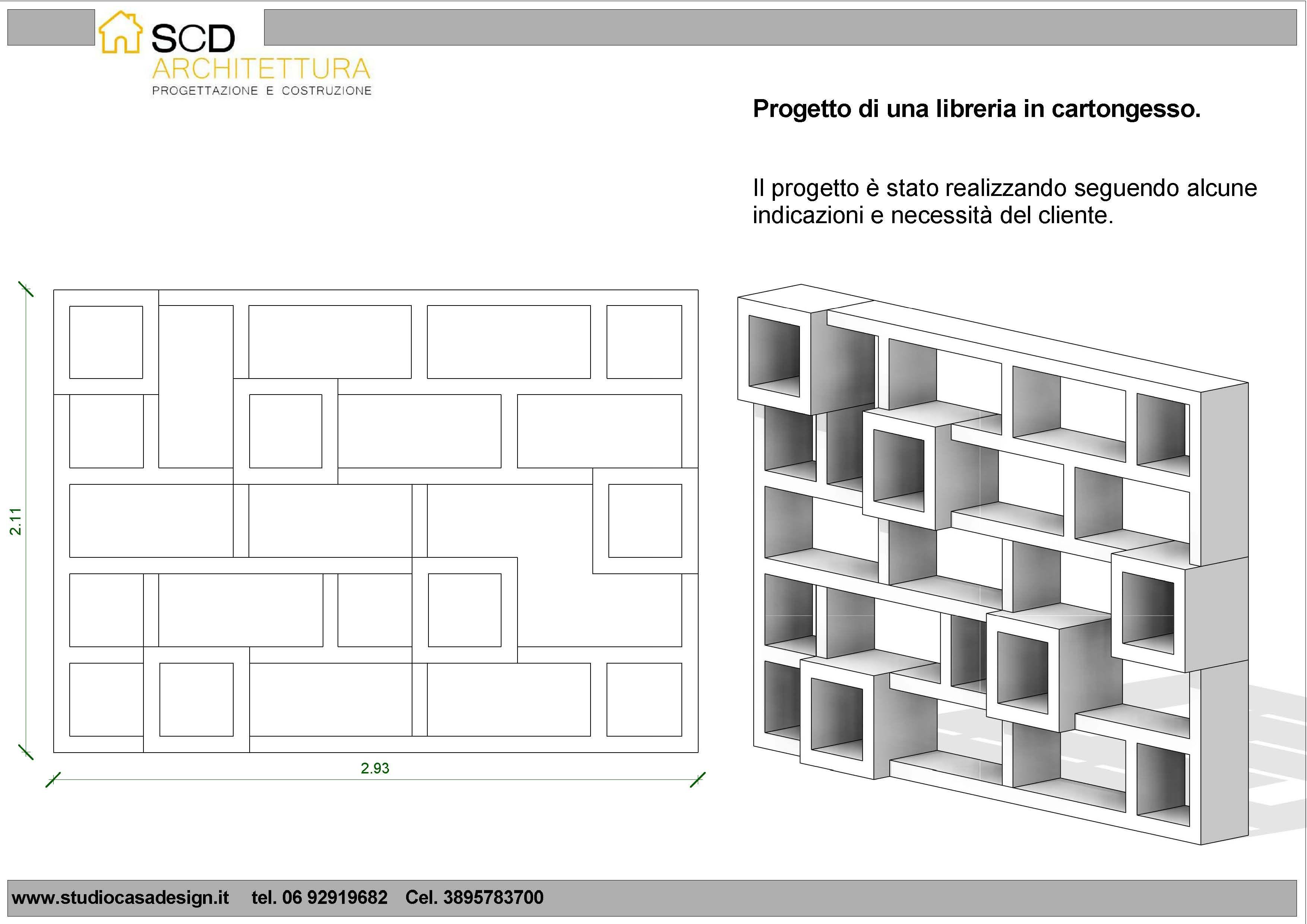 Progetto e realizzazione di una libreria in cartongesso a for Progettare parete attrezzata