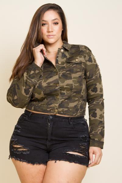 d151252240b Plus Size Cropped Camo Denim Jacket