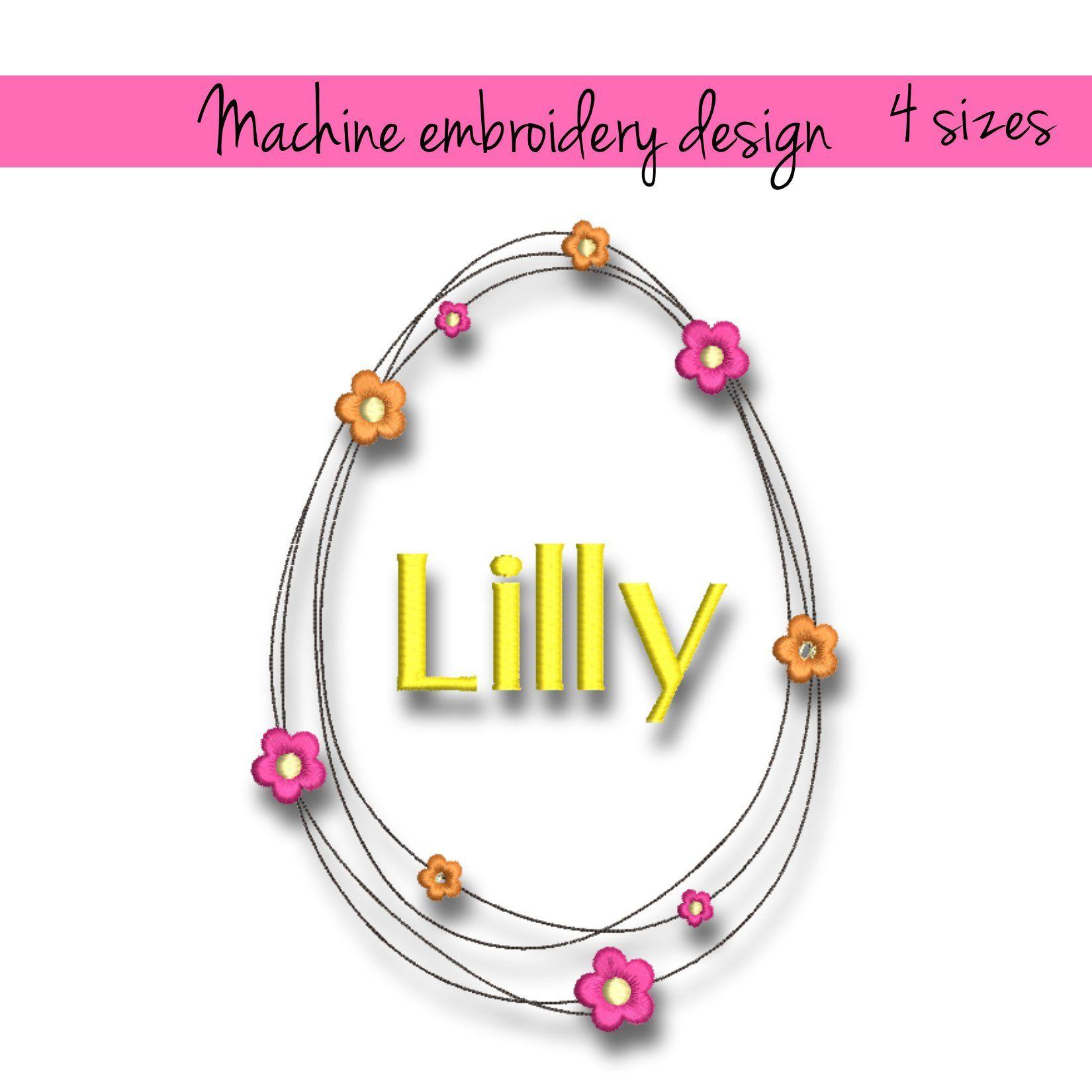 Machine Embroidery Design Easter Frame Pes Egg Monogram