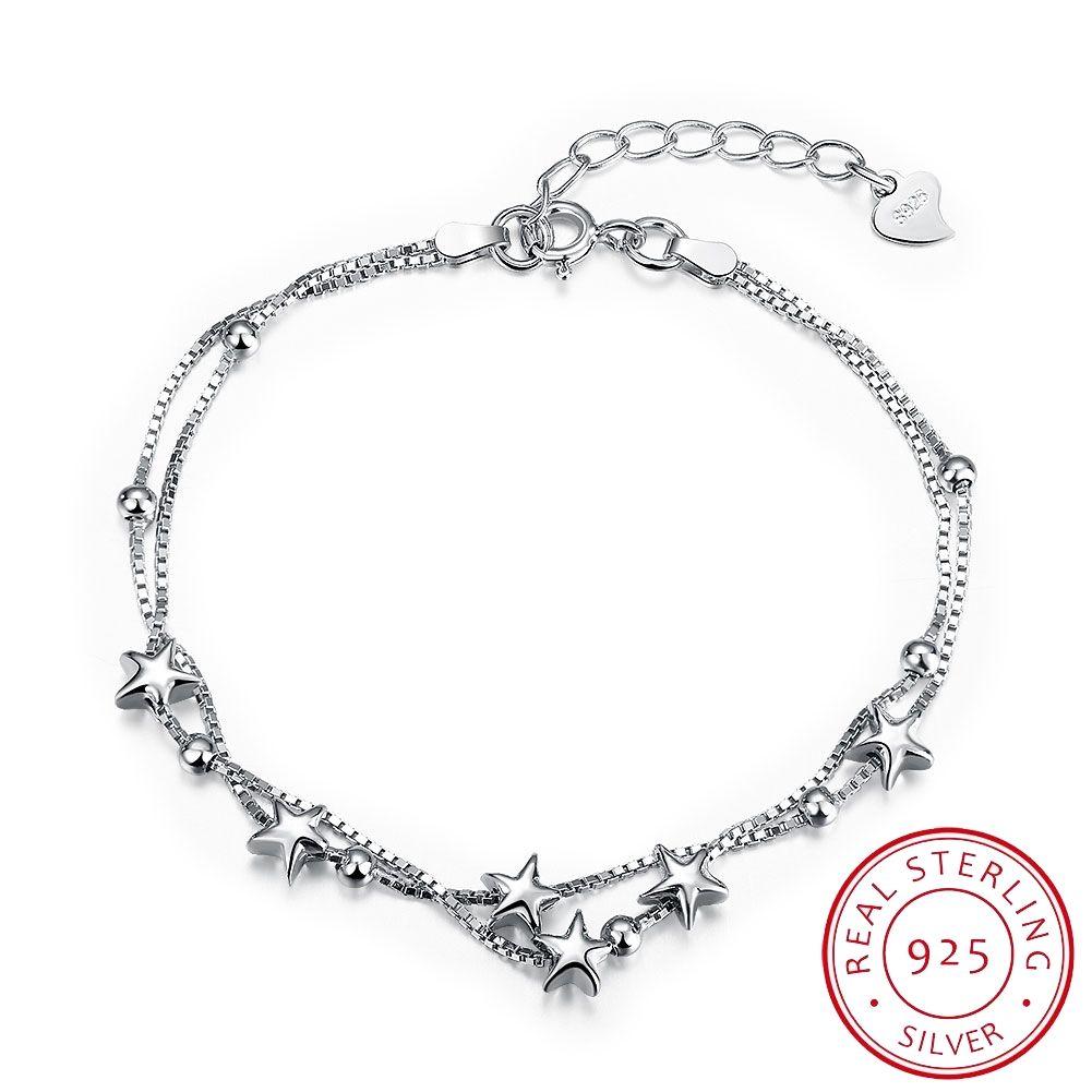 Fashion 925 Sterling Silver Bracelets Star Design Silver Link ...