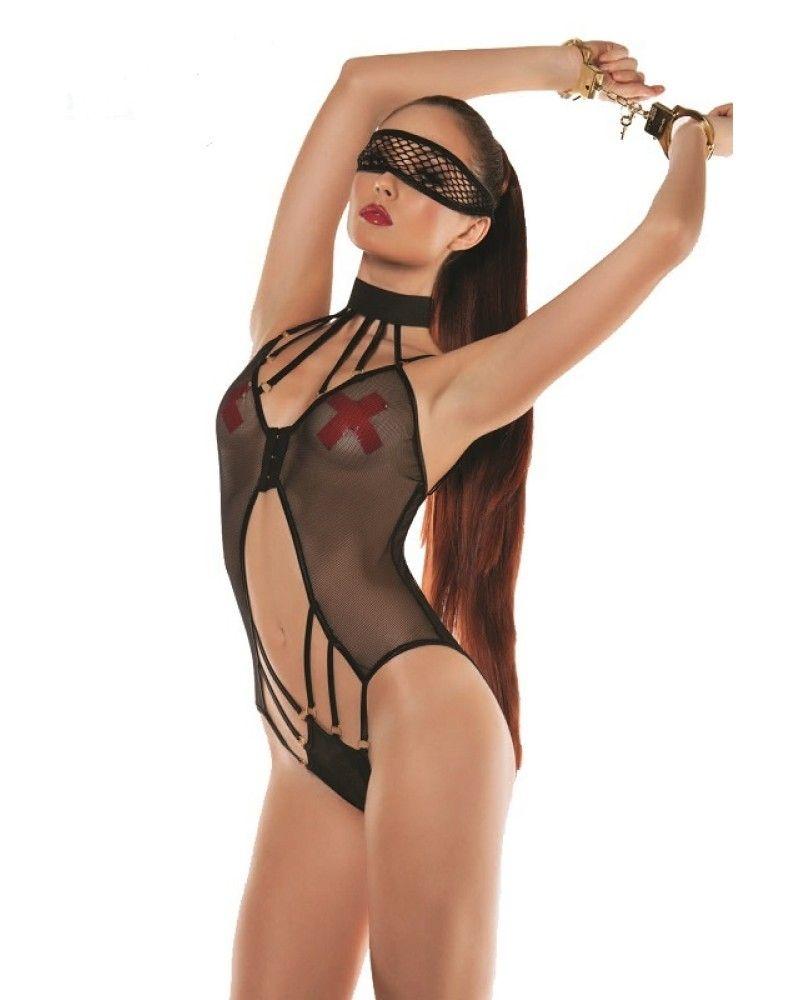 Starline Fishnet Halter Strappy Bodysuit $49