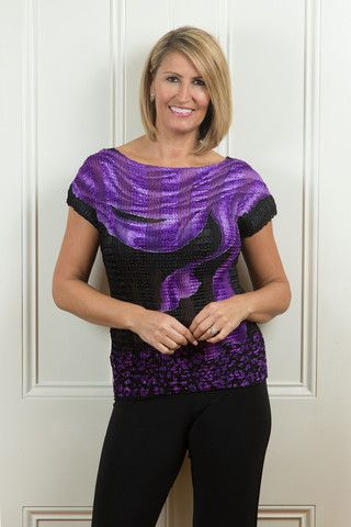 Expo Top Wave PurpleStretch accordian pleat top.  This clever fabrication stretches to fit up to a size 16.  Team this back with black on it's own or throw a soft chiffon jacket over the top for a different look.  These fly off the shelves they are so easy to wear!  ONE SIZE FREE Shipping in Australia!  http://tulio.com.au/collections/tops-and-tunics/products/expo-top-wave-purple