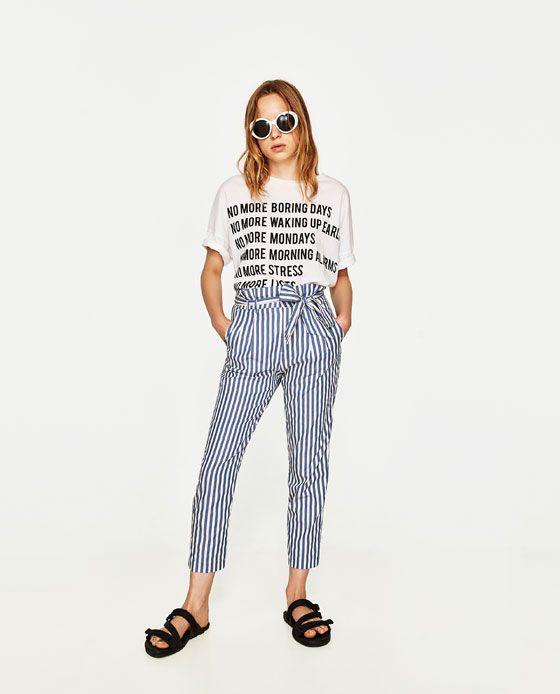 pantalon de rayas zara mujer