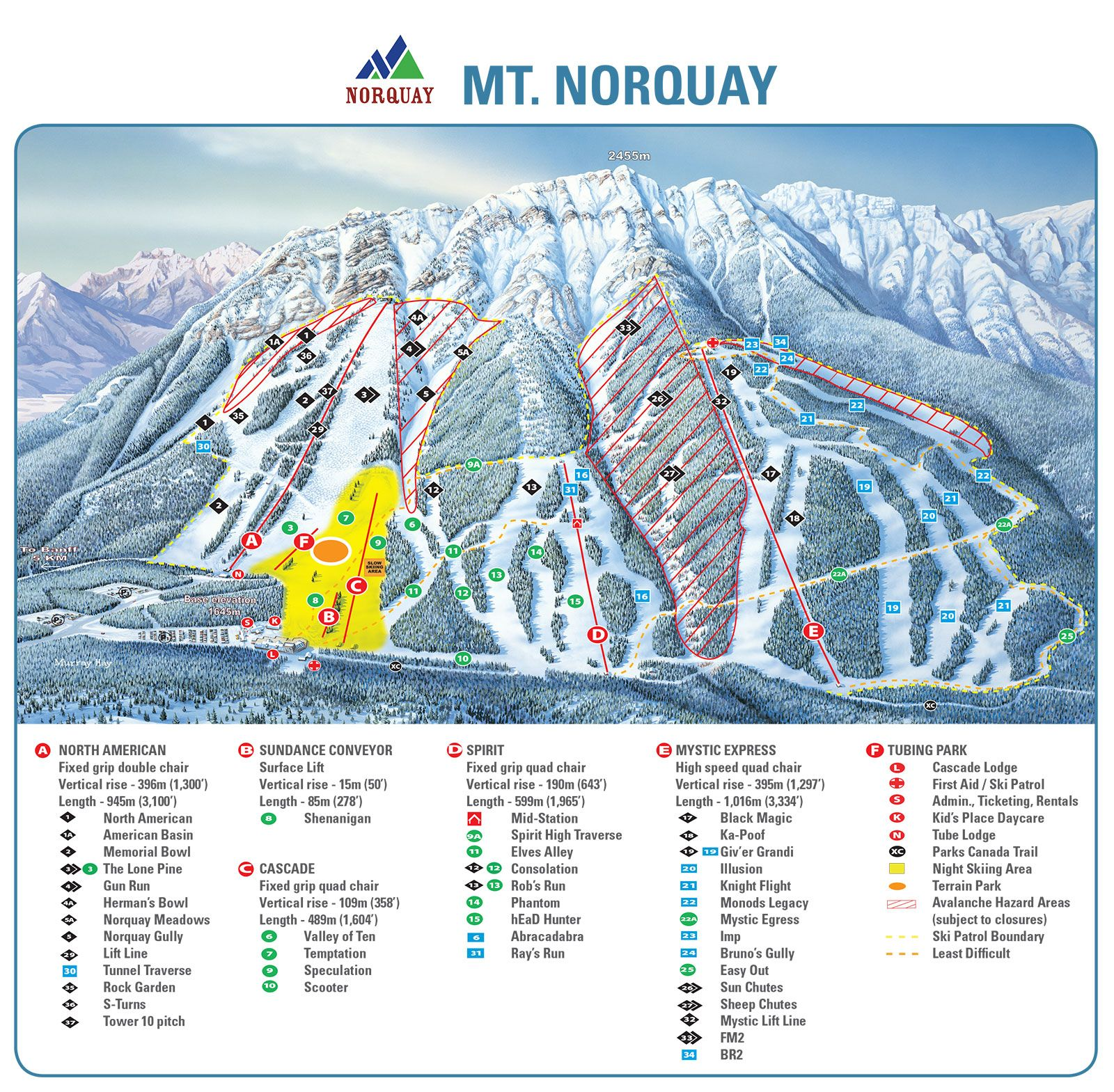 Map Of Canada Lake Louise.Banff Trail Maps Ski Banff Lake Louise Sunshine Skiing Trail