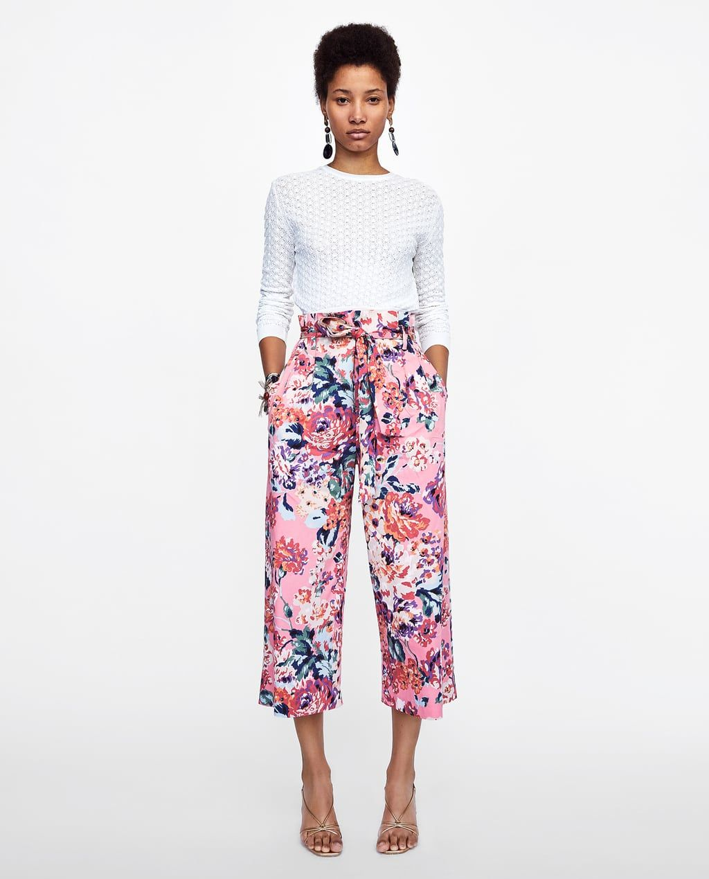 57c38941 Image 1 of FLORAL PRINT PANTS WITH BELT from Zara | CatalogueAdore ...