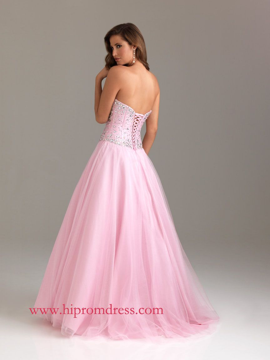 Pink A-Line Sweetheart Floor Length Lace Up Prom Dresses With ...