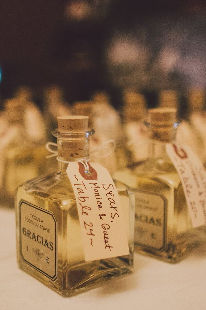 Mini Tequila Bottles Double As Favors And Table Seating Ignments