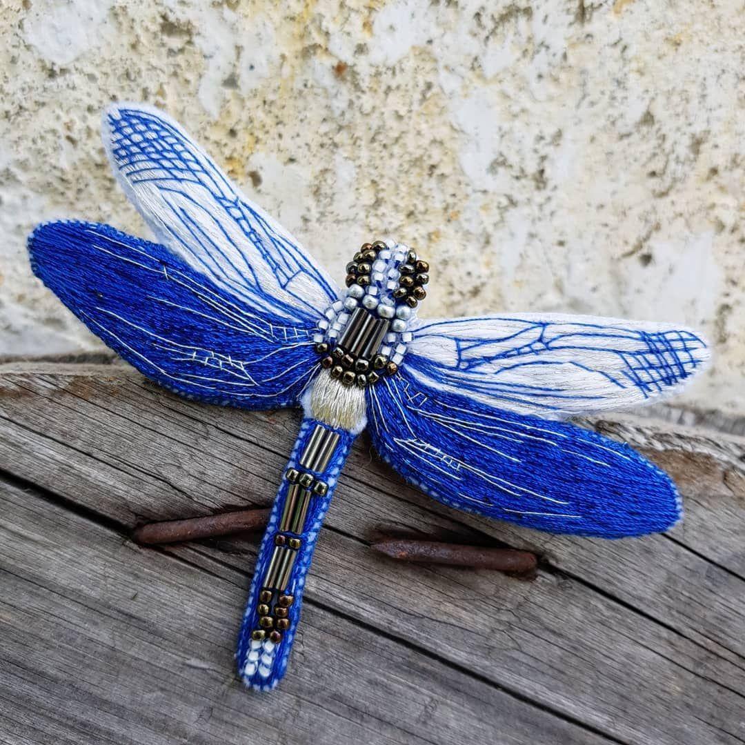 Cvet Nastroeniya Sinij Vot I Gotova Krasotka Strekozka S Takim Udovolstviem Ya Nad Nej Rabotala Ochen Lyublyu Strek Beaded Embroidery Brooch Dragonfly