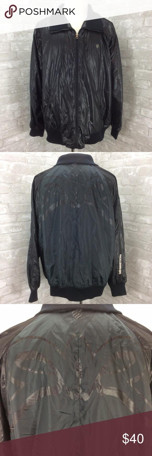 Rocawear Bomber Jacket Mens 2x Large Black Shiny W In 2020 Bomber Jacket Rocawear Mens Jackets [ 1740 x 580 Pixel ]